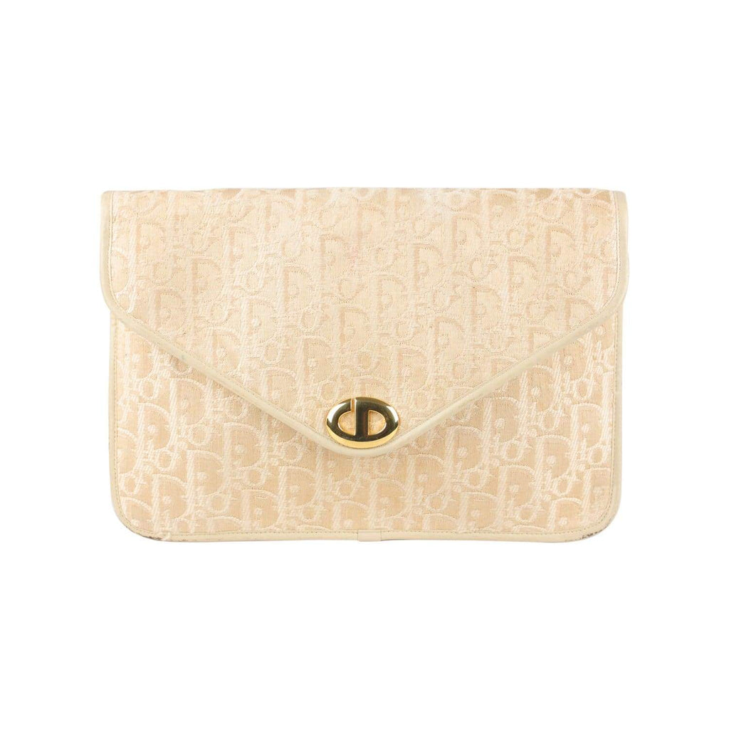 Logo Tapestry Canvas Clutch Bag Opherty & Ciocci