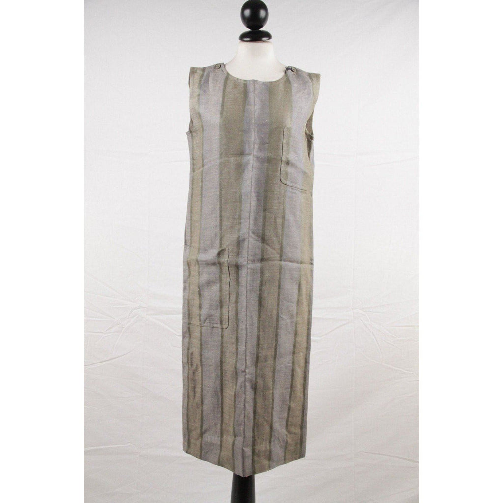 Christian Dior Vintage Green Striped Sleeveless Smock Dress Size 36 Opherty & Ciocci