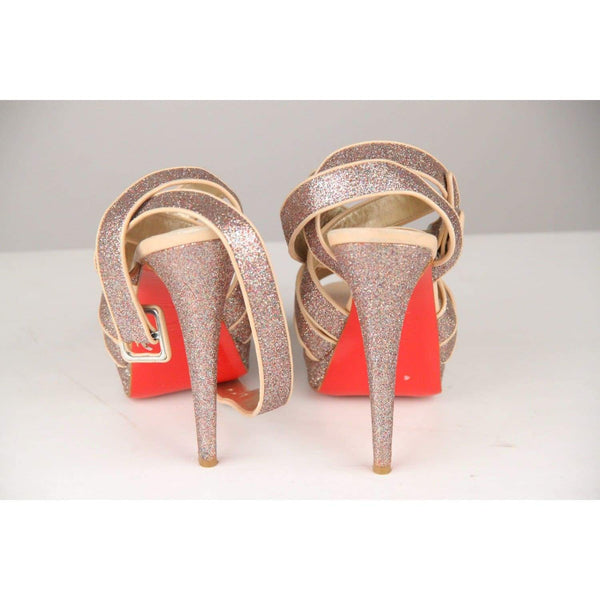 Christian Louboutin Silver Glitter And Nude Leather Straratata Sandals 36 Opherty & Ciocci