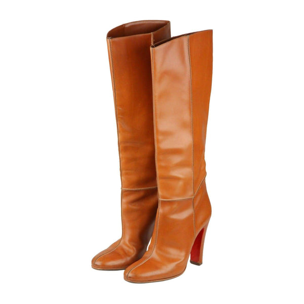 Christian Louboutin Tan Leather Knee Leanght Boots Size 39 Opherty & Ciocci