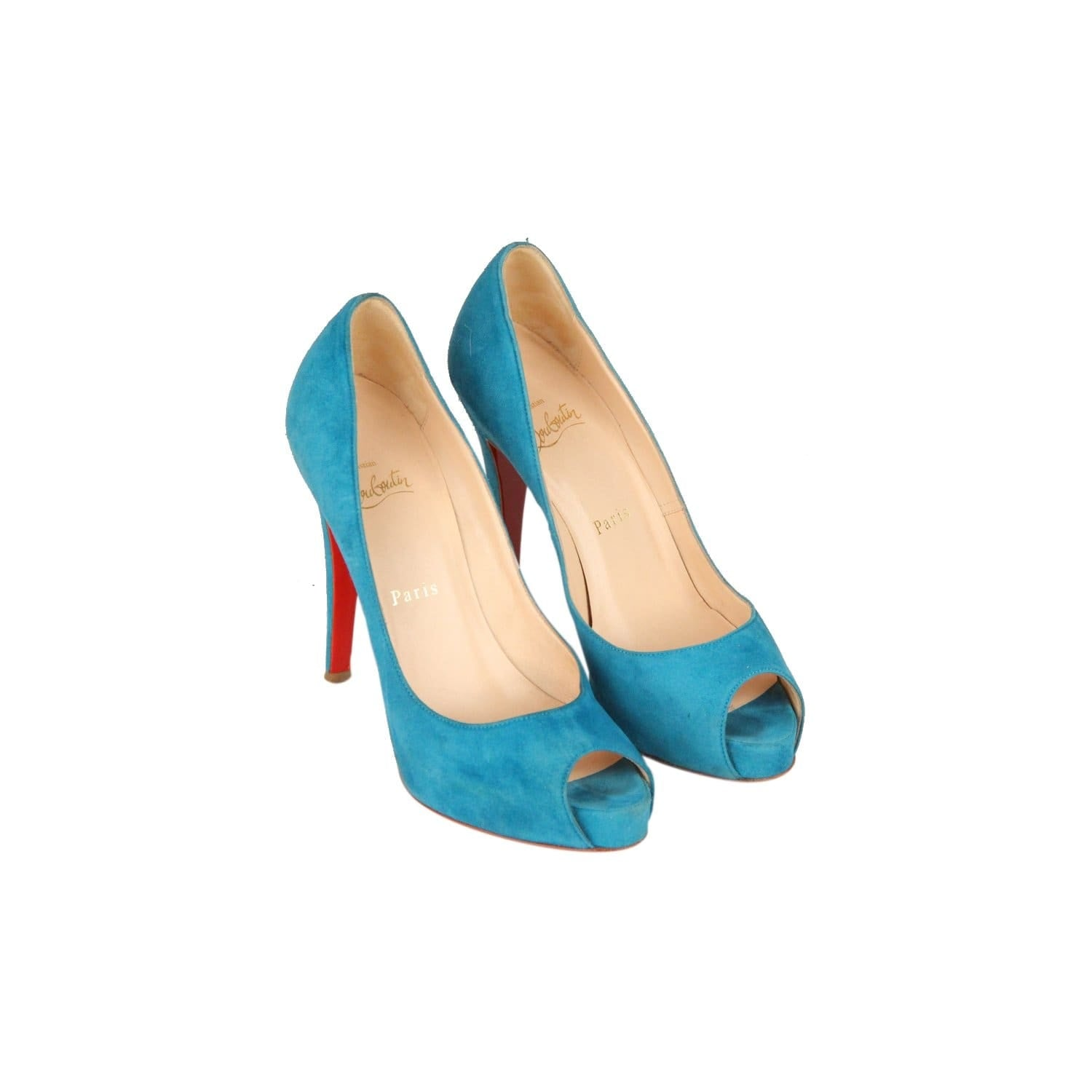 8fab563cc6d Christian Louboutin Turquoise Suede Open Toe Shoes Vendome120 Heels 36.5  Opherty   Ciocci