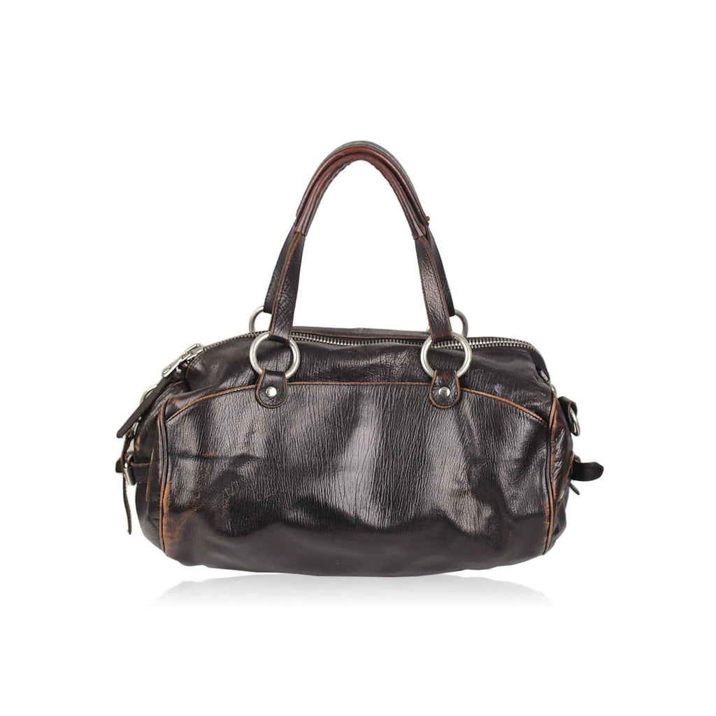Brown Leather Satchel Bag Bowling Opherty & Ciocci