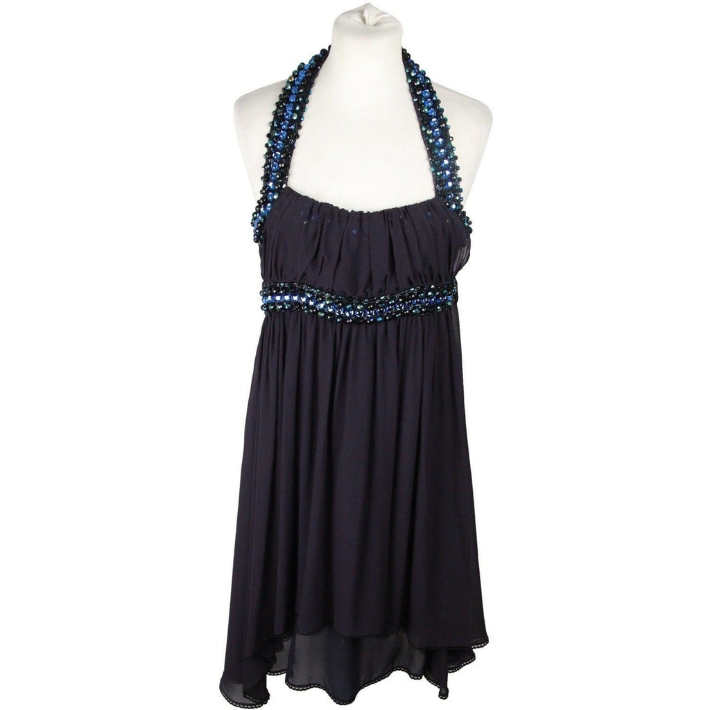 Costume National Blue Beaded Straps Embellished Silk Dress Size 40 Opherty & Ciocci