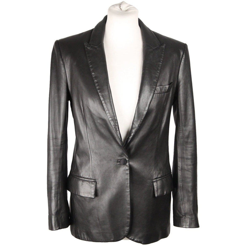 Couture Du Cuir Black Leather Blazer Jacket Size 42 Opherty & Ciocci