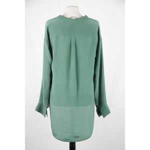 Couture Du Cuir Green Silk Blouse Shirt Top Dipped Hem Size 40 Opherty & Ciocci