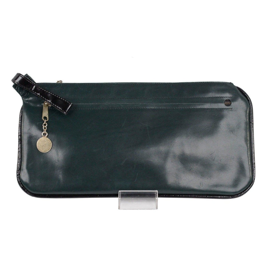 Creazioni Jeunesse Vintage Green Leather Clutch Purse Handbag Wrist Bag Opherty & Ciocci