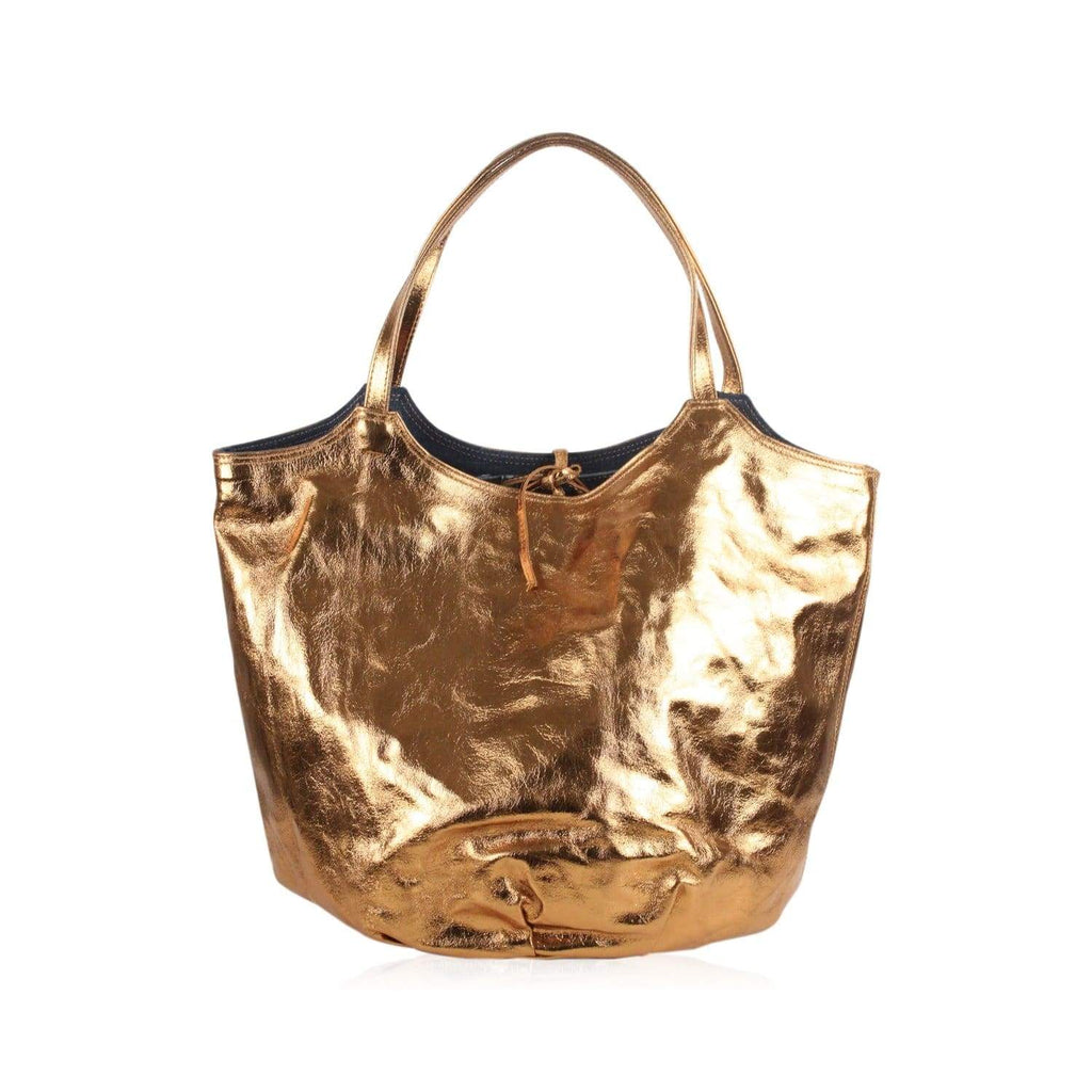 Reversible Gold Leather And Denim Tote Bag Opherty & Ciocci