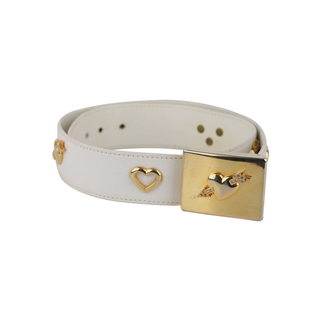 Escada White Leather Hearts Woman Belt