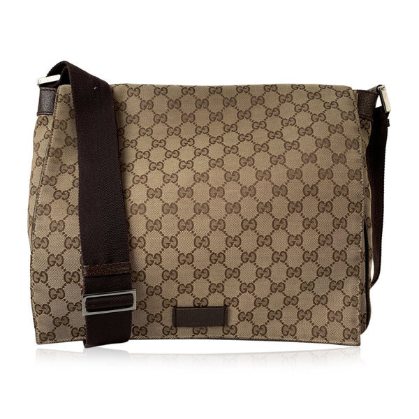 Gucci Beige Monogram Canvas Unisex Messenger Crossbody Bag
