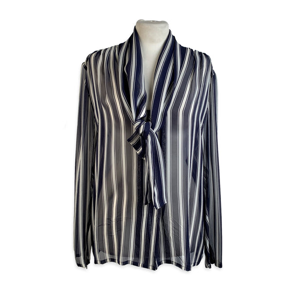 Givenchy Couture Vintage Striped Silk Button Down Shirt - OPHERTY & CIOCCI