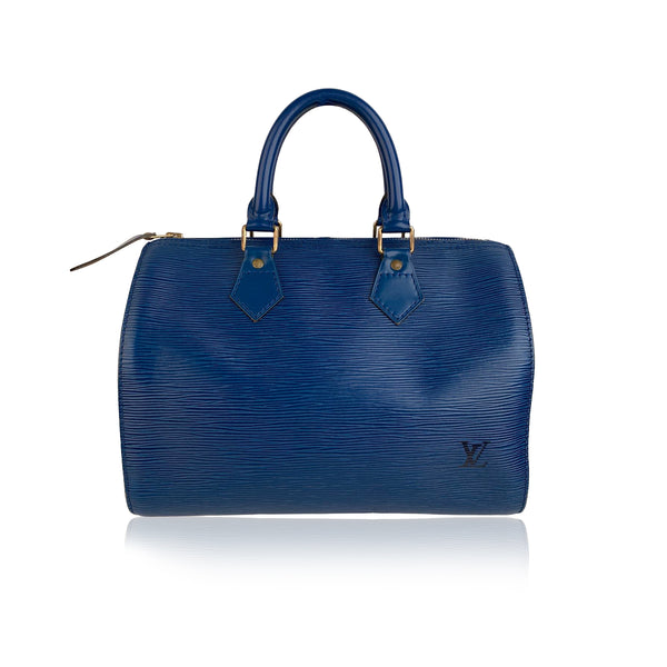 Louis Vuitton Vintage Toledo Blue Epi Leather Speedy 25 Boston Bag