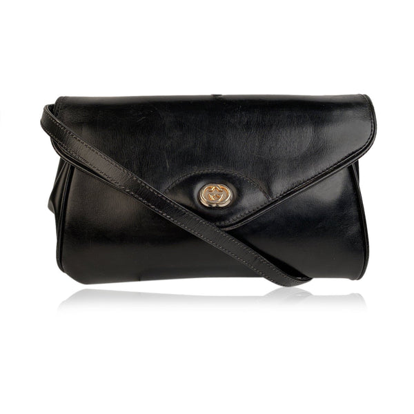 Gucci Vintage Black Leather Convertible Crossbody Bag