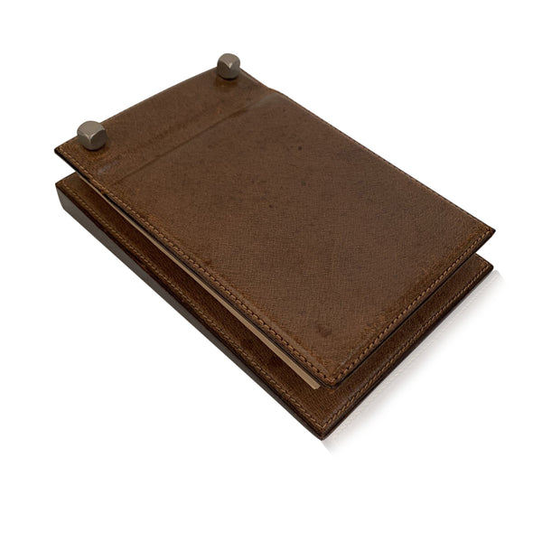 Gucci Vintage Brown Leather Desk Notepad Notebook Holder