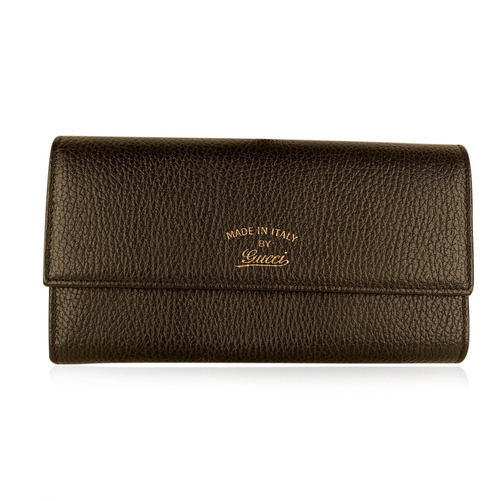 Gucci Black Leather Swing Snap Closure Continental Wallet