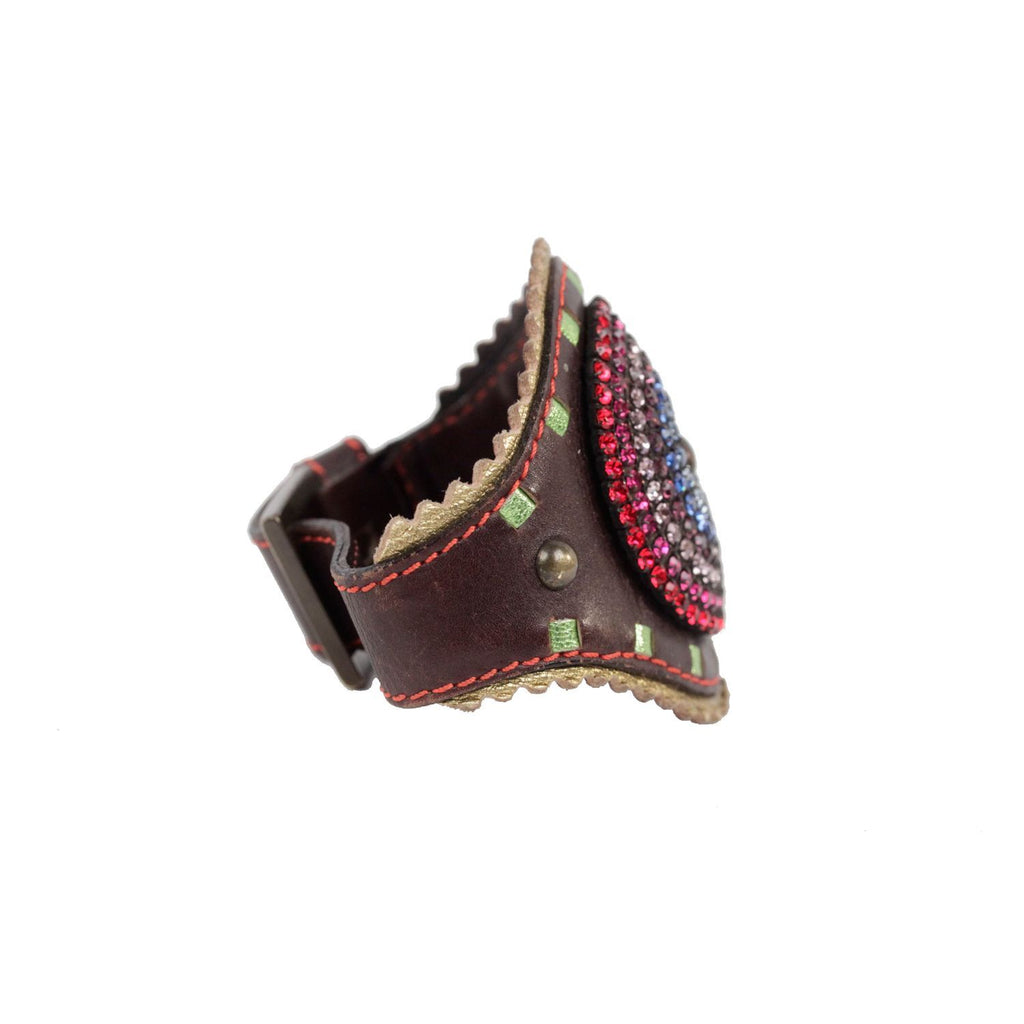 GIUSEPPE ZANOTTI Brown Leather CUFF BRACELET with Rhinestones