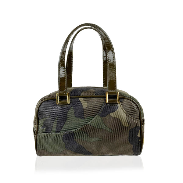 Christian Dior Military Gren Canvas Mini Camouflage Satchel Bag