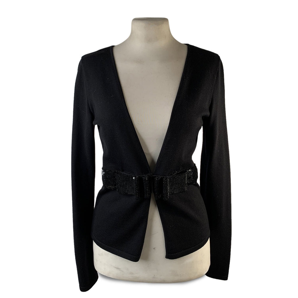 Valentino Black Wool Knit Cardigan Jumper Sequined Bow Belt Size S