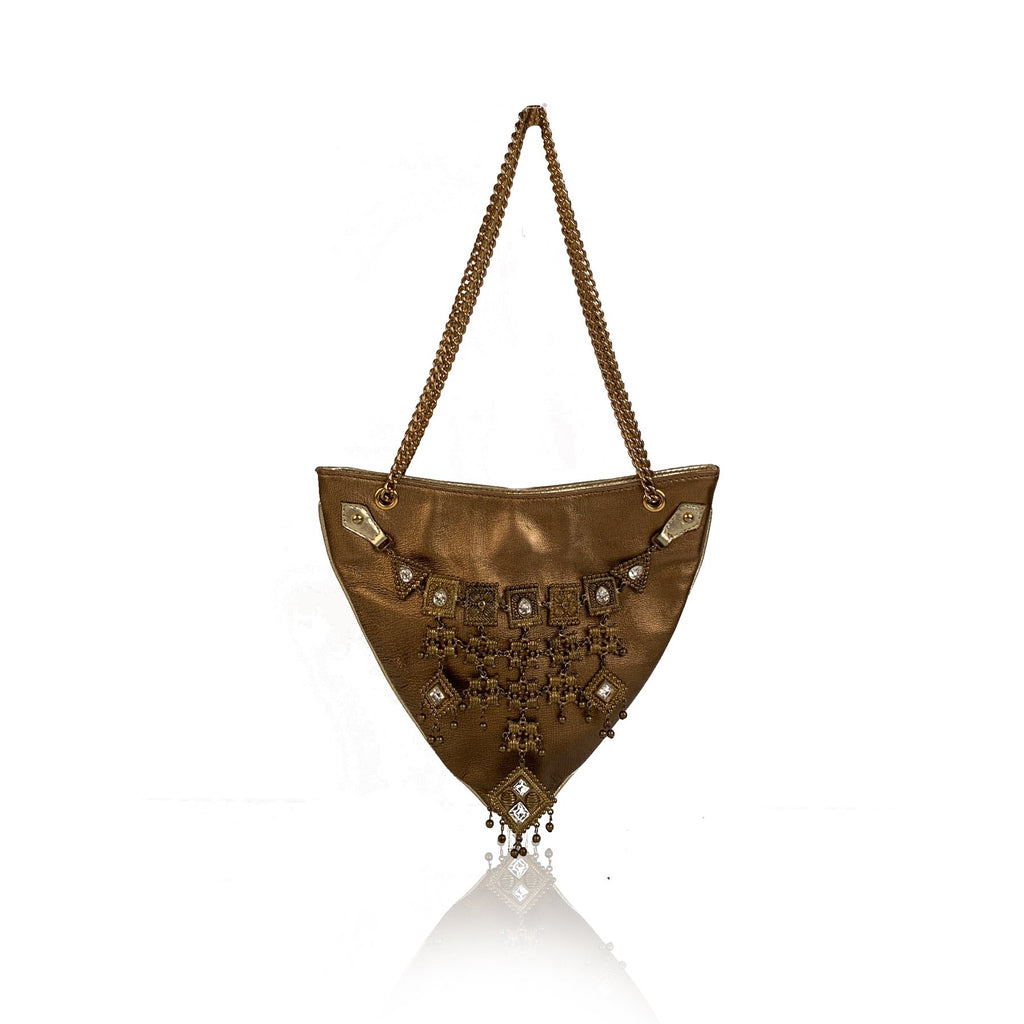 Giuseppe Zanotti Gold Tone Leather Embellished Evening Shoulder Bag - OPHERTY & CIOCCI