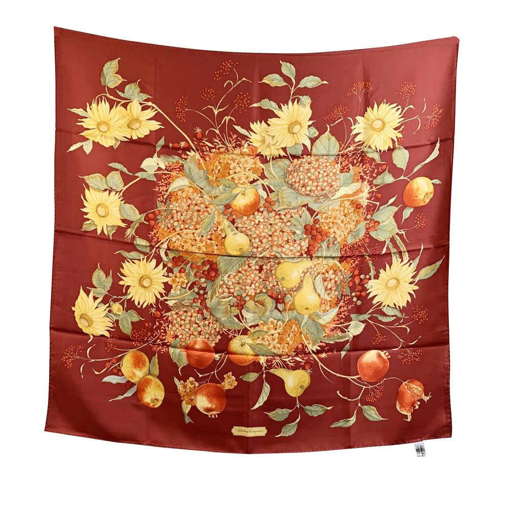 Salvatore Ferragamo Vintage Red Silk Scarf Flowers and Fruits Design