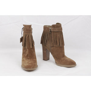 Ivanka Trump Tan Suede Preta Fringed Ankle Boots Heels Shoes US Size 9.5