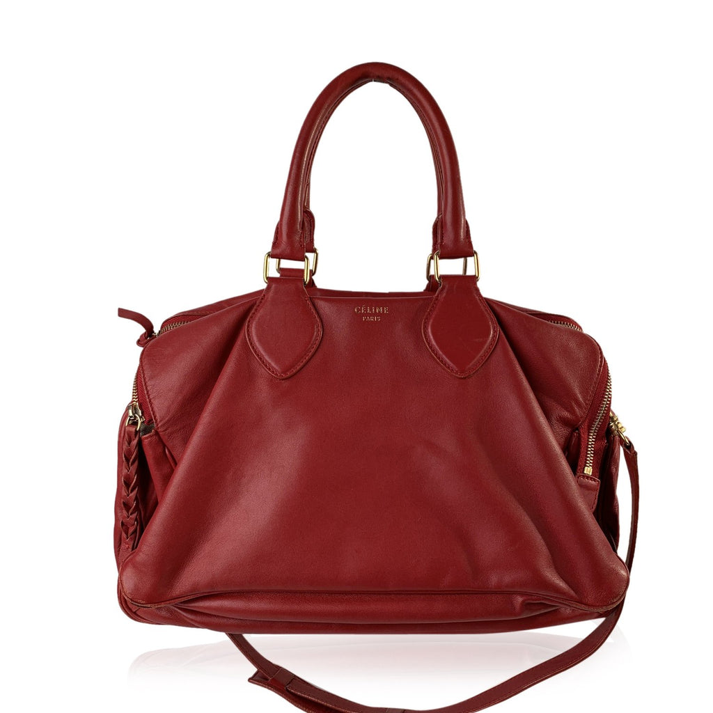 Celine Red Leather Triptyque Top Handles Satchel Bag