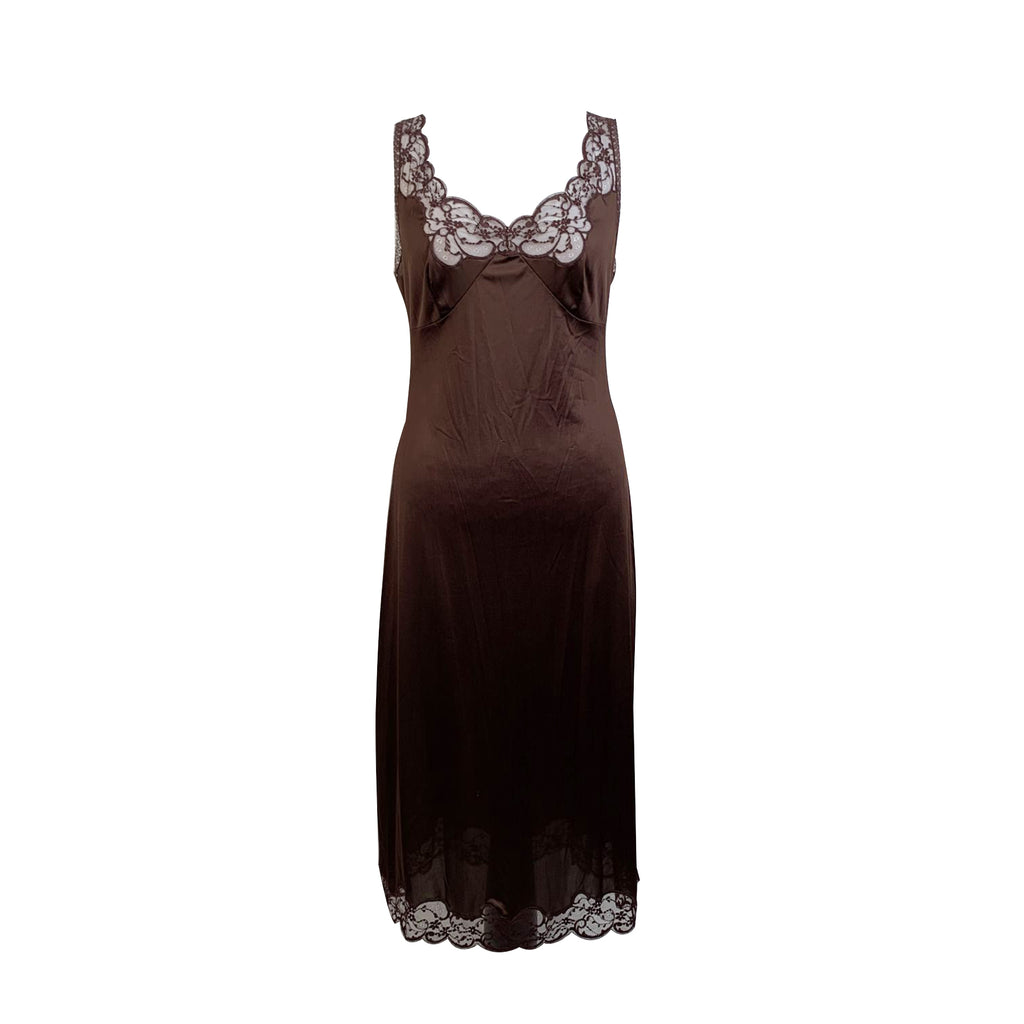 Dolce & Gabbana Brown Nylon Cami Dress with Lace Trim Size 40 IT