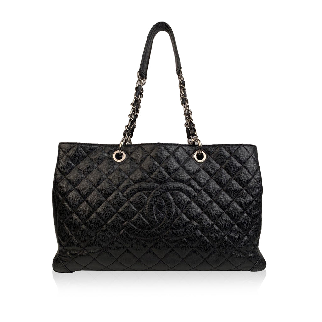Chanel Black Caviar Quilted Leather Grand Shopping Tote GST Bag