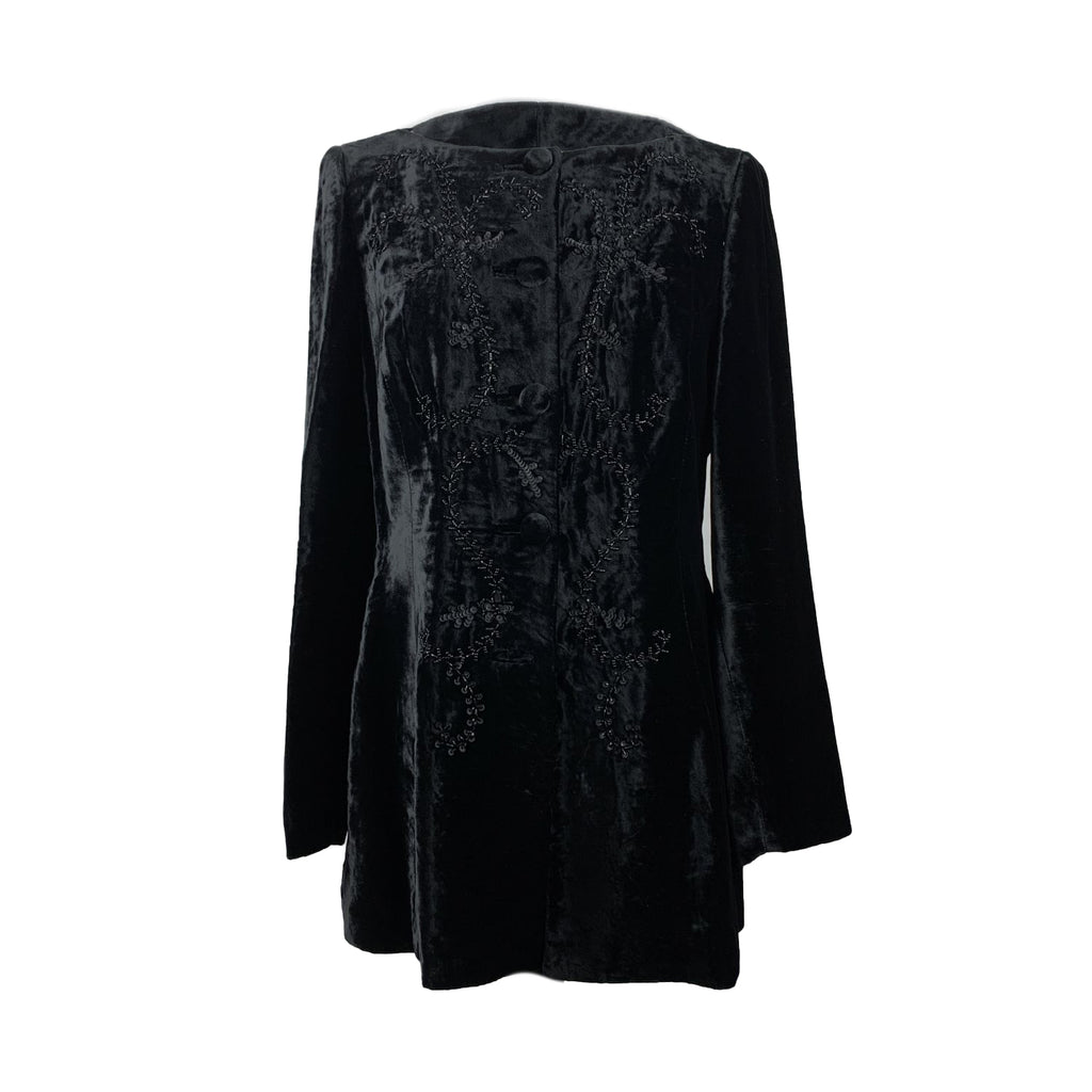 Mimmina Vintage Black Velvet Embellished Jacket Size 44 IT