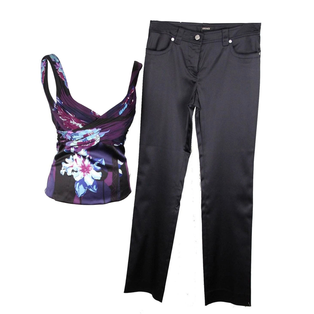 Versace Blue Silk Top and Satin Pants Trousers Set Size Small
