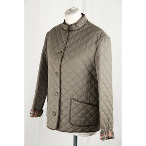 DAKS LONDON Military Green Cotton Blend QUILTED JACKET Padded Windcheater SIZE 12