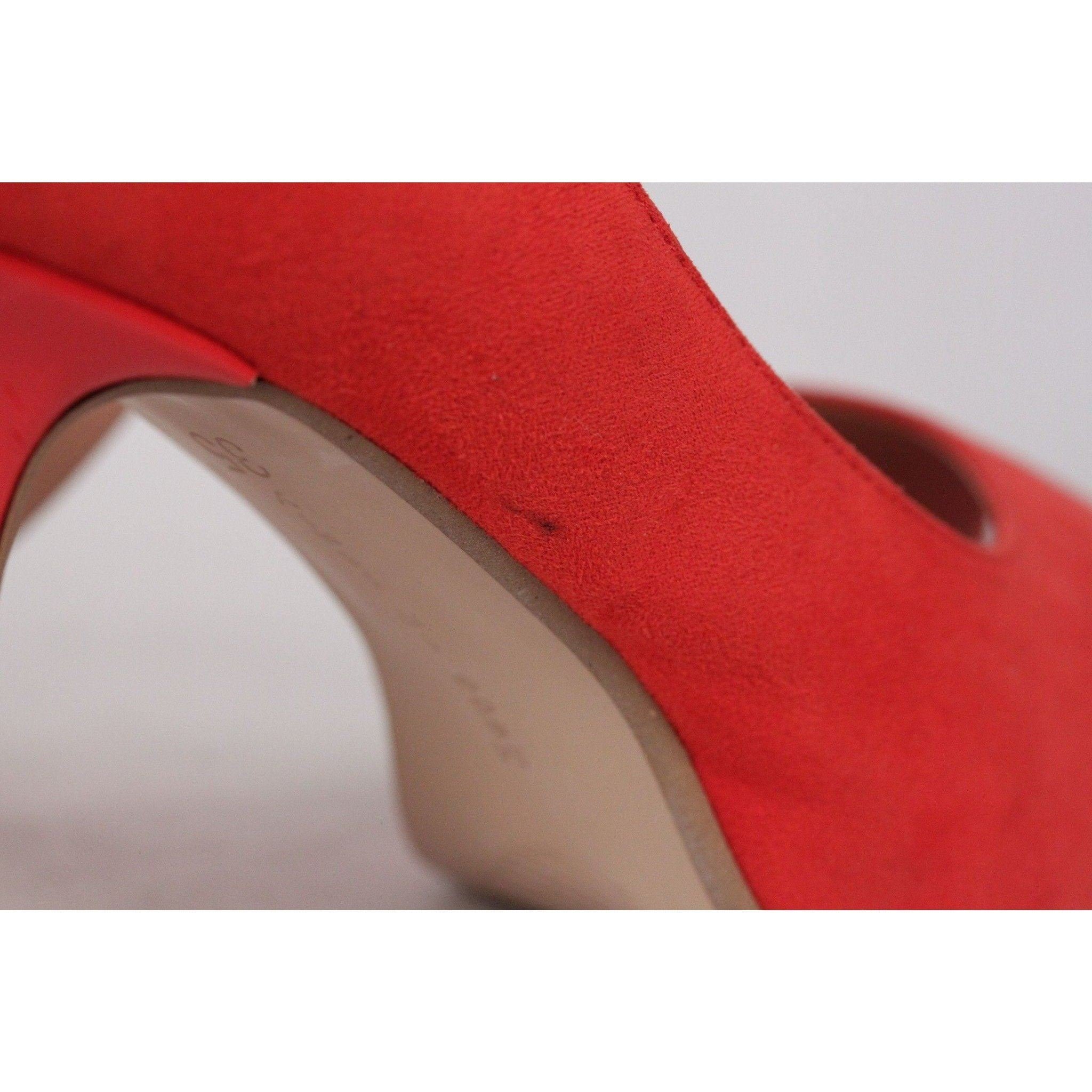 d79a9f40162 Danielle Red Peep Toe Heels Open Toe Pumps Shoes Size 35 Opherty   Ciocci