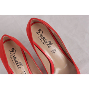 Danielle Red Peep Toe Heels Open Toe Pumps Shoes Size 35 Opherty & Ciocci