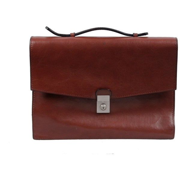 DAVIDE CENCI Brown Leather 1 GUSSET BRIEFCASE Handbag WORK Business BAG