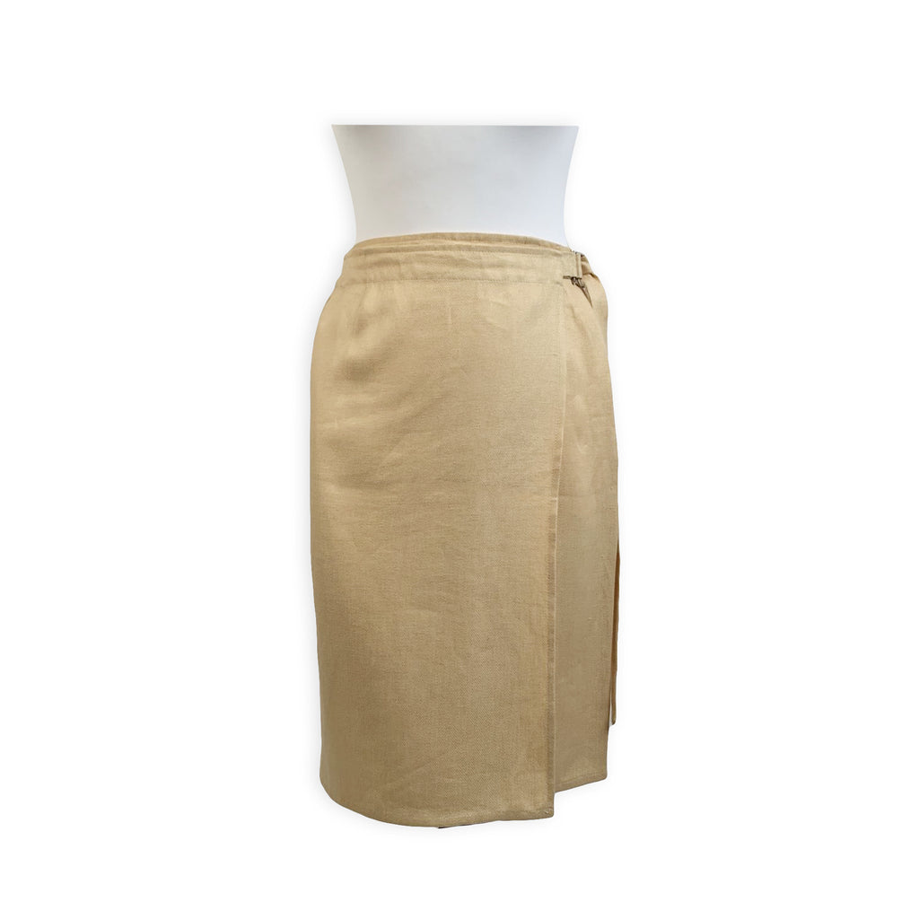 Salvatore Ferragamo Vintage Beige Linen and Silk Wrap Skirt Size 44