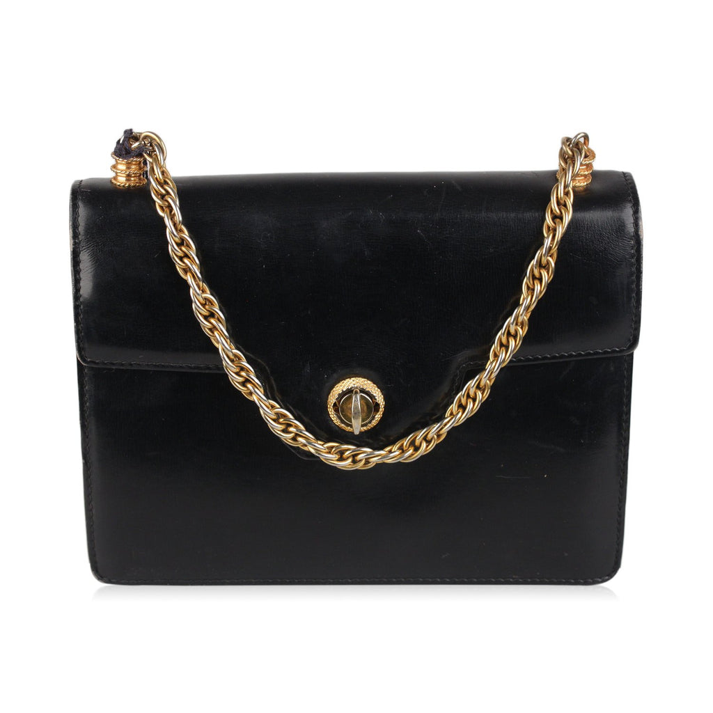 Gucci Vintage Black Leather Handbag with Chain Handle