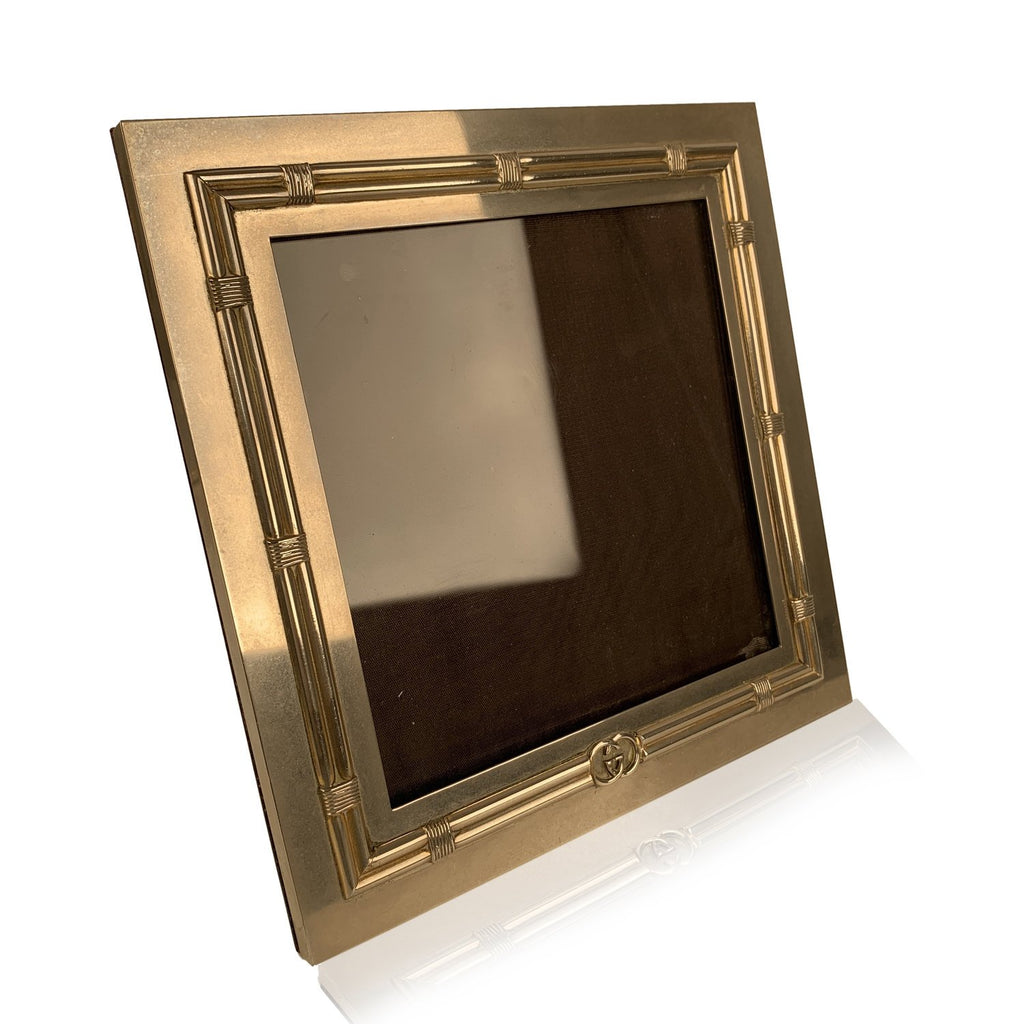 Gucci Vintage Silver Metal Square Desk Photo Frame