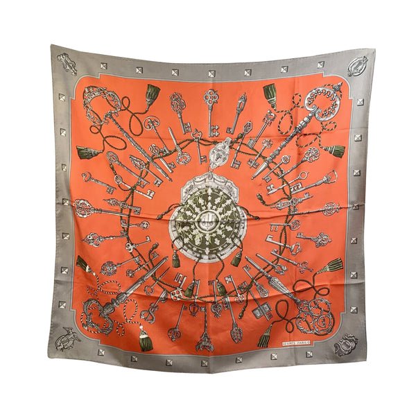 Hermes Paris Vintage Red Silk Scarf Les Clefs 1965 Latham Defects