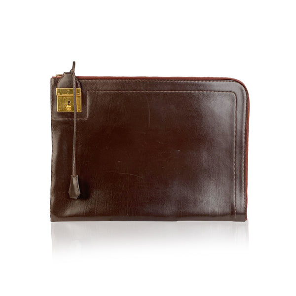 Hermes Paris Vintage Brown Leather Portfolio Document Holder