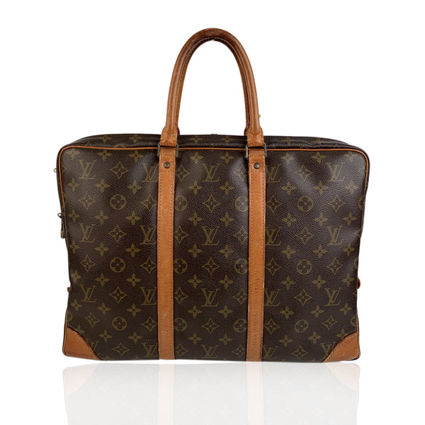 Louis Vuitton Vintage Monogram Canvas Briefcase Porte Document Voyage Bag