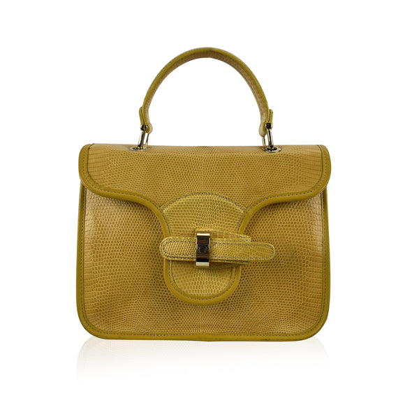 Gherardini Yellow Leather Bellona Satchel Bag Handbag