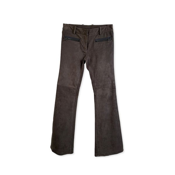 Philipp Plein Gray Suede Flared Pants Trousers - OPHERTY & CIOCCI
