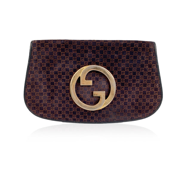 Gucci Vintage Blue Brown GG Monogram Suede Blondie Clutch Bag
