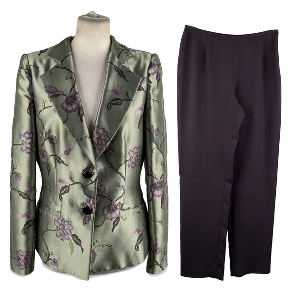 Armani Collezioni Green Purple Blazer Wide Leg Pants Size 44
