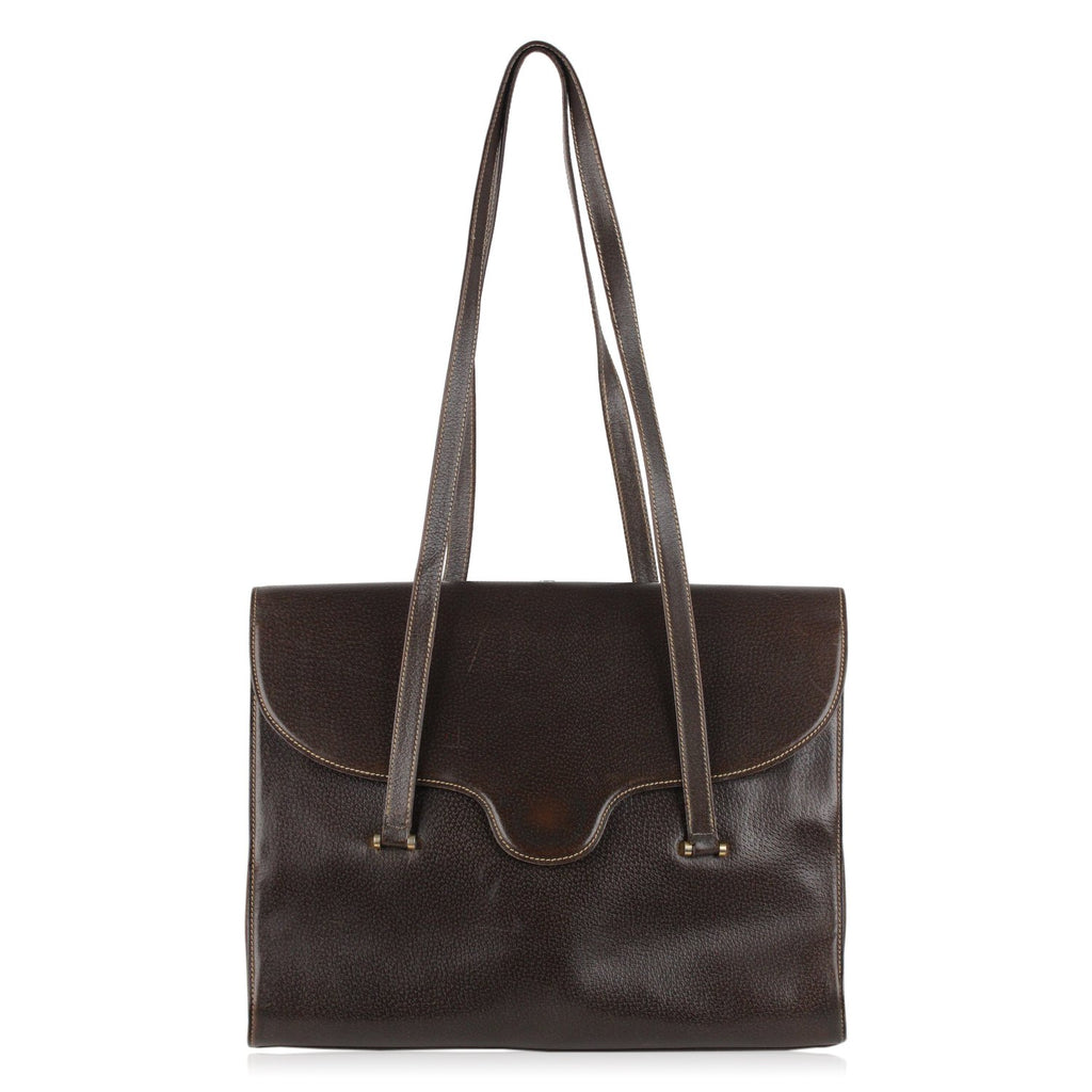 Gucci Vintage Brown Leather Flap Shoulder Bag Tote