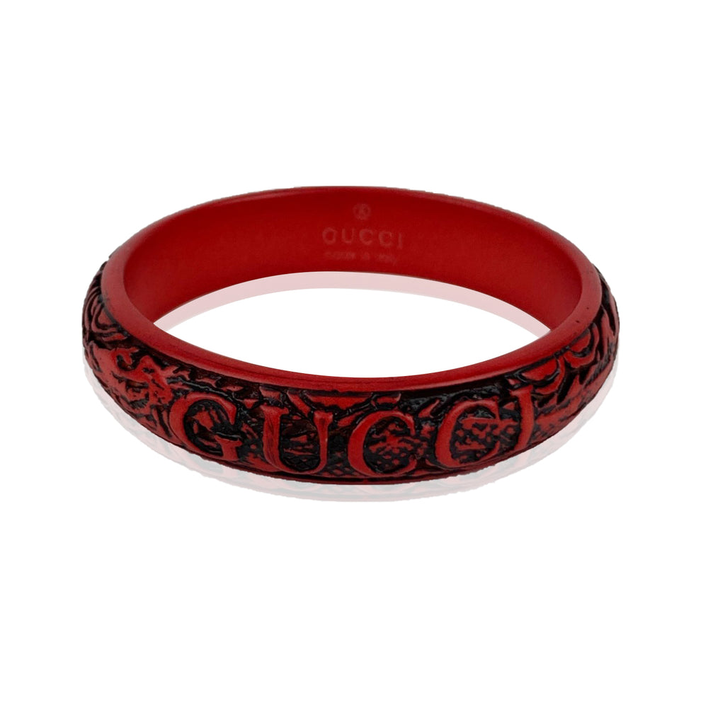 Gucci Red Dragon Resin Engraved Logo Bangle Bracelet Size L