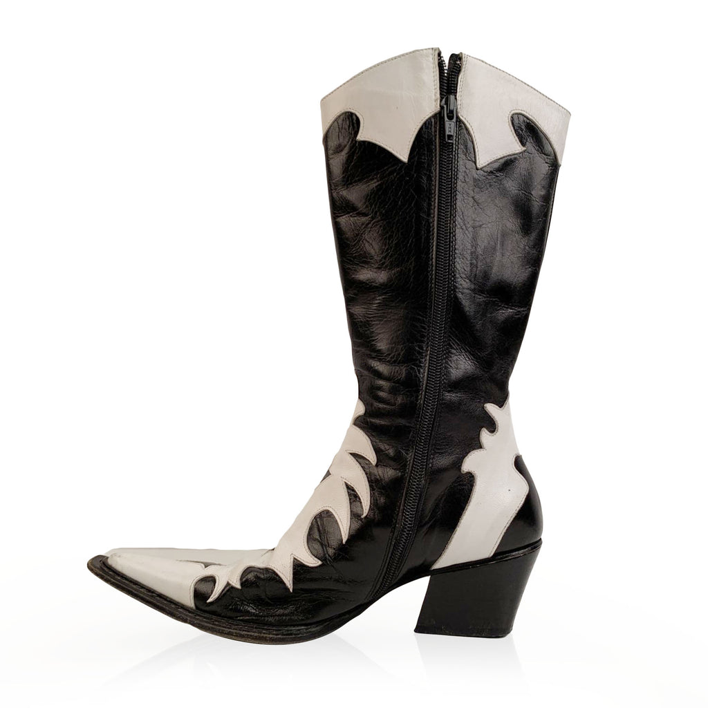 Sem Vaccaro Black and White Western Cowboy Boots Camperos Size 37