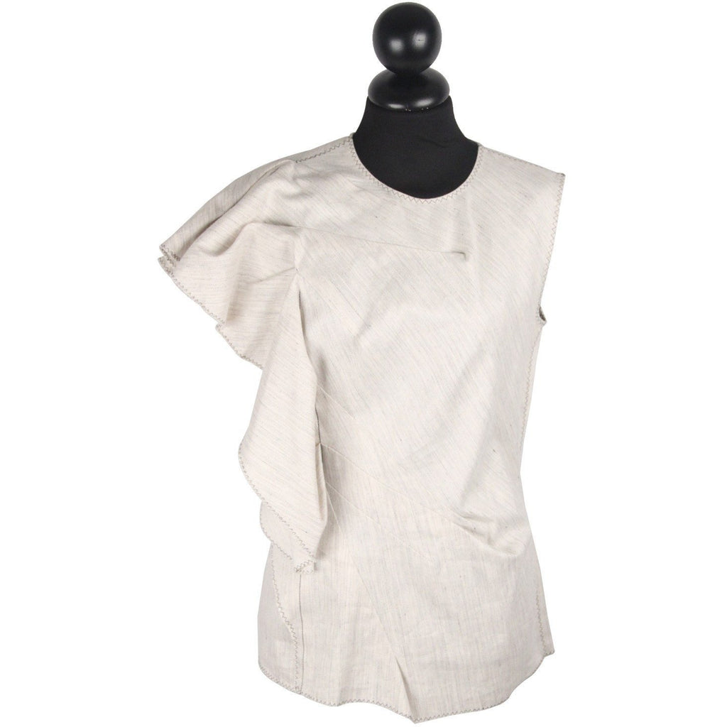 LANVIN Stone Linen & Cotton SLEEVELESS TOP w/ Ruffle Trim SIZE 38