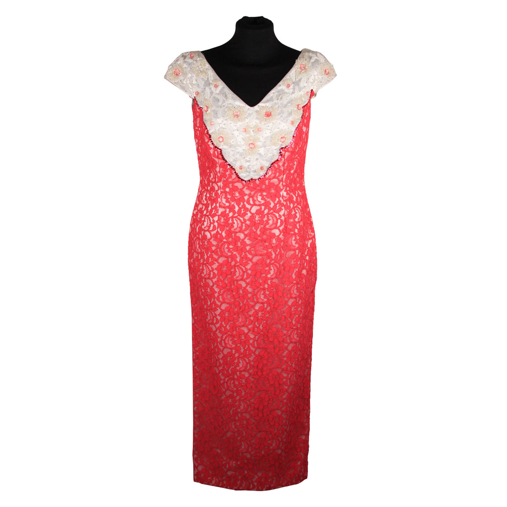 Luna Di Miele Vintage Hot Pink Lace Evening Dress with Beading Size S
