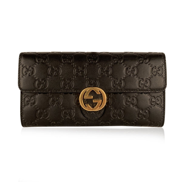 Gucci Black Guccissima Leather Icon Continental Wallet