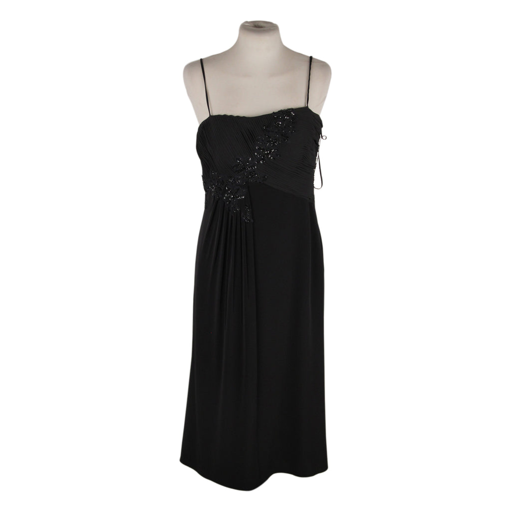 Ethne Black Evening Midi Cocktail Embellished Dress Size 44 IT
